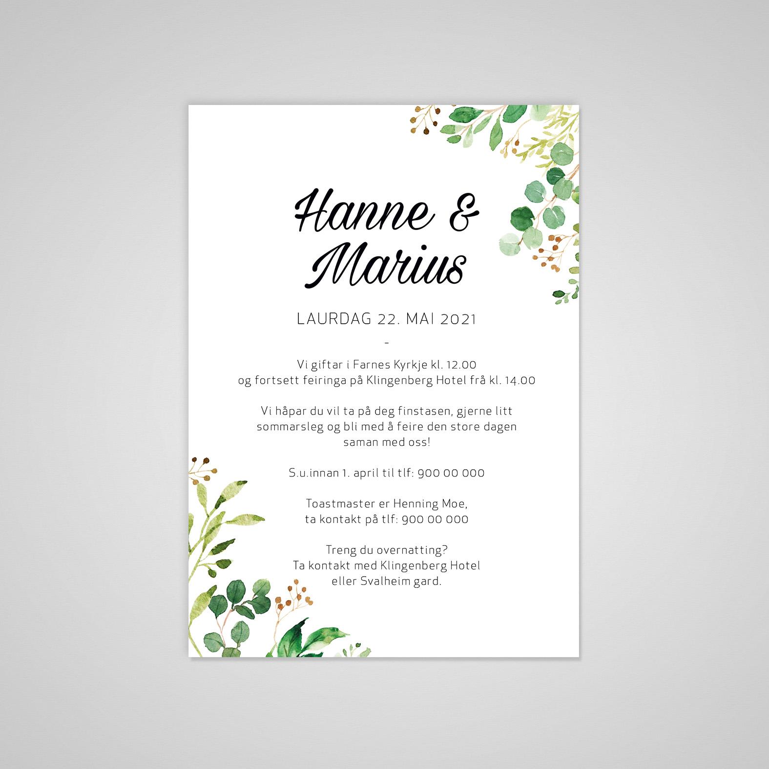 Bryllup invitasjon